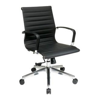 Office Star Products Black Mid-Back Eco-Leather Chair