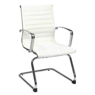 Office Star Products Mid Back White Eco Leather Visitor's Chair