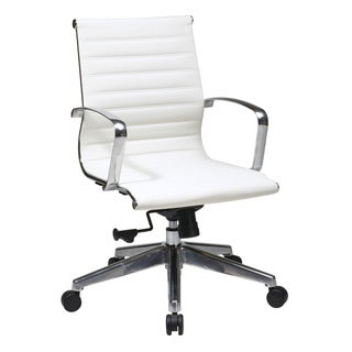 Office Star Products Mid Back White Eco Leather Chair