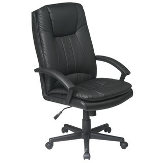 Work Smart Black Eco Leather High-back Executive Chair