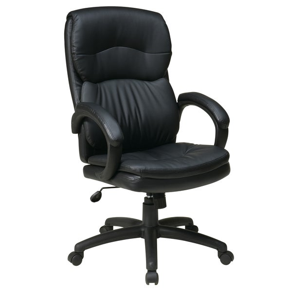 Work Smart Black Eco Leather High-Back Contour Executive Chair with Lumbar Support