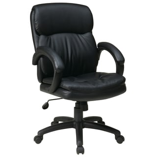 Work Smart Black Eco Leather Mid-back Contour Executive Chair