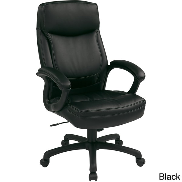 Work Smart Black Eco Leather High-back Contour Executive Chair