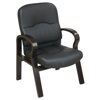 Office Star 'Work Smart' Black Eco Leather, Contour Seat Visitor's Chair