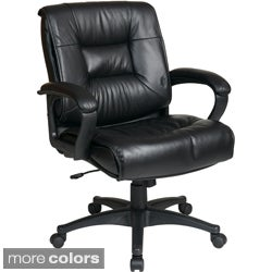 Office Star Products 'Work Smart' Glove Soft or Top Grain Leather Contour Mid Seat and Back Chair