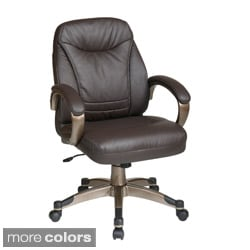 Office Star Products 'Work Smart' Mid Back Contour Seat and Back Faux Leather Chair