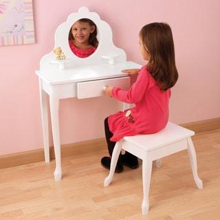 KidKraft Medium White Diva Vanity Table and Stool Set