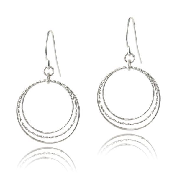 Mondevio Sterling Silver Triple Hoop Dangle Earrings