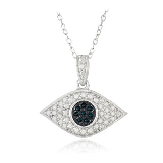 DB Designs Sterling Silver 1/10ct TDW Blue Diamond Evil Eye Necklace