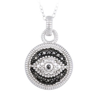 DB Designs Sterling Silver 1/10ct TDW Black Diamond Evil Eye Necklace