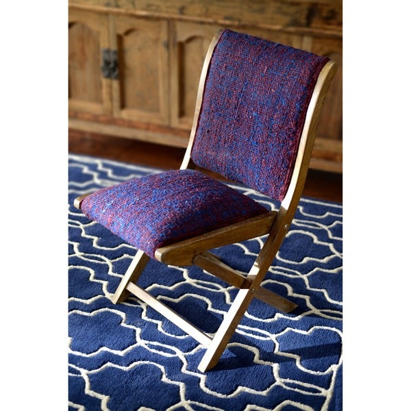 Handmade Bombay Navy Blue Sari Silk Folding Chair