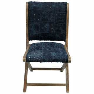 nuLOOM Handmade Bombay Navy Sari Silk Folding Chair