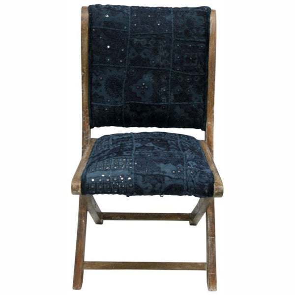 nuLOOM Handmade Bombay Navy Sari Silk Folding Chair