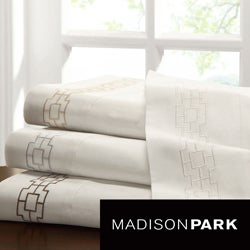 Madison Park Galleria 300 Thread Count Cotton Sateen Sheet Set With Embroidery Cuff Trim