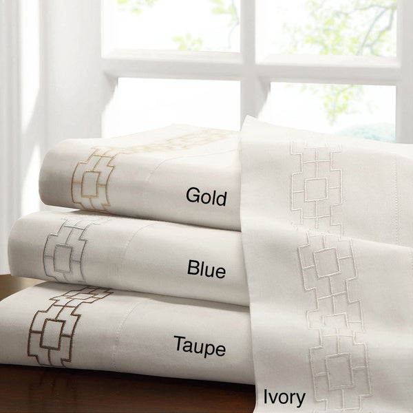 Madison Park Galleria 300 Thread Count Ivory Cotton Sateen Sheet Set With Embroidery Cuff Trim