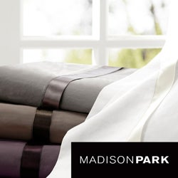 Madison Park Vitale 300 Thread Count Cotton Sateen Sheet Set with Ribbon Trim
