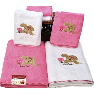 Lucia Minelli 6-Piece Cute Bear Embroidered Luxury Turkish Towel Set