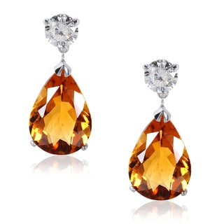Annello 14k White Gold Citrine and 1 1/8 ct TDW Diamond Earrings (H-I, I1-I2)