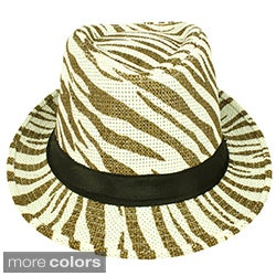 Faddism Striped Unisex Fashion Fedora Hat