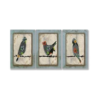 Jean Plout 'Song Bird Trio' Triptych Art