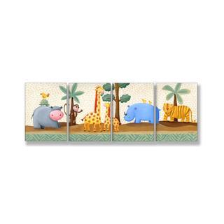 Sapna 'Hippo Giraffe Rhino Tiger' 4-piece Wall Art