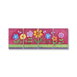 Sapna 'Pink Floral' 4-plaque Wall Art
