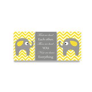 Yellow Chevron Elephants Love Trio Wall Plaque (Set of 3)
