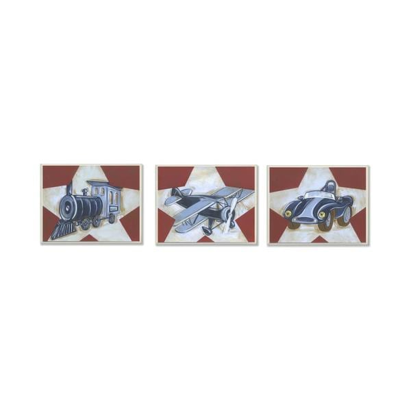 Train, Plane & Car Wall Plaques (Set of 3)