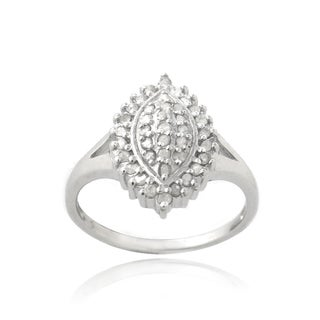 DB Designs Silevrtone 3/8ct TDW Diamond Marquise Shape Ring (I-J, I2-I3)