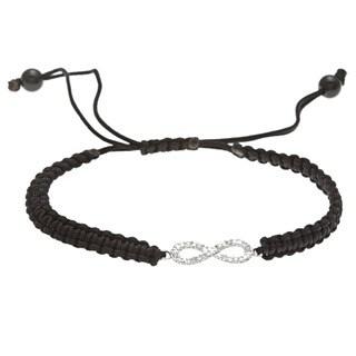 Sterling Silver 1/10ct TDW Diamond Infinity Macrame Bracelet (J-K, I2-I3)