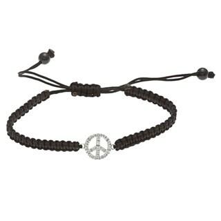 Sterling Silver 1/10ct TDW Diamond Peace Macrame Bracelet (J-K, I2-I3)