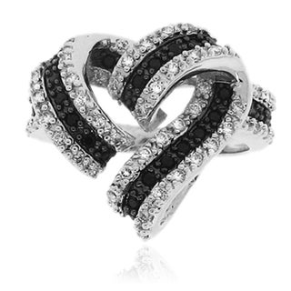 Sterling Silver Black and White CZ Ribbon Heart Shape Ring