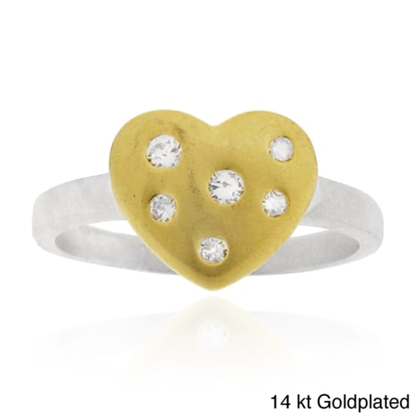 Silver Cubic Zirconia Brushed Heart Ring