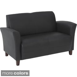 Office Star Products 'Breeze' Eco Leather Sofa Chair with Cherry Finish on Legs