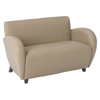 Office Star Products 'Eleganza' Taupe Eco Leather Loveseat Chair with Cherry Finish on Legs