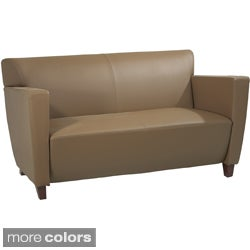 Office Star Products Leather Loveseat Chair with Legs in Cherry Finish