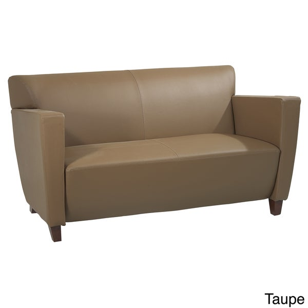 Office Star Products Leather Loveseat Chair With Legs In Cherry Finish 15354915 Overstock