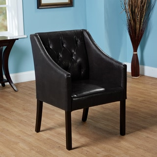 Tufted Black Faux Leather Guest Chair
