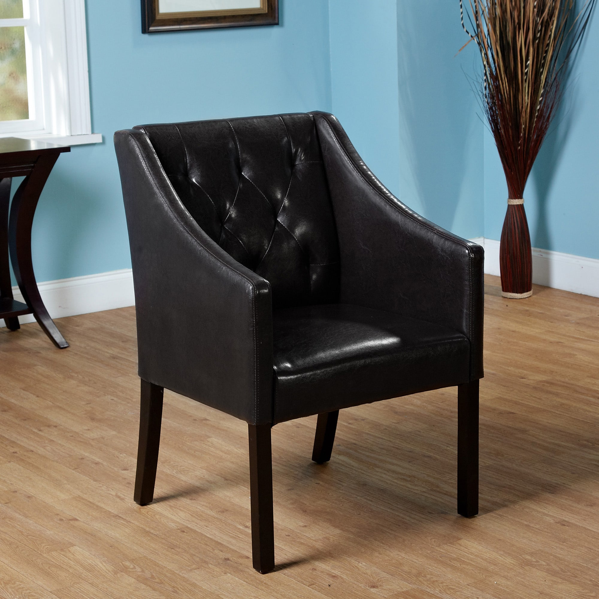 Simple living tufted black faux leather guest chair overstock