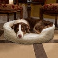 Trademark Cuddle Round Cream Multiple Sizes Comfy Fur Pet Bed
