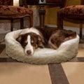 Trademark Cuddle Round Cream Multiple Sizes Comfy Fur Pet Bed