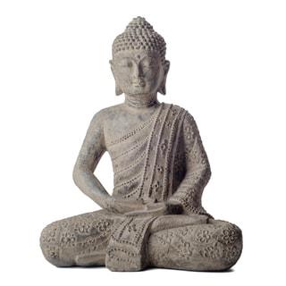 Volcanic Stone Buddha Lotus Robe Stonewashed Statue (Indonesia)