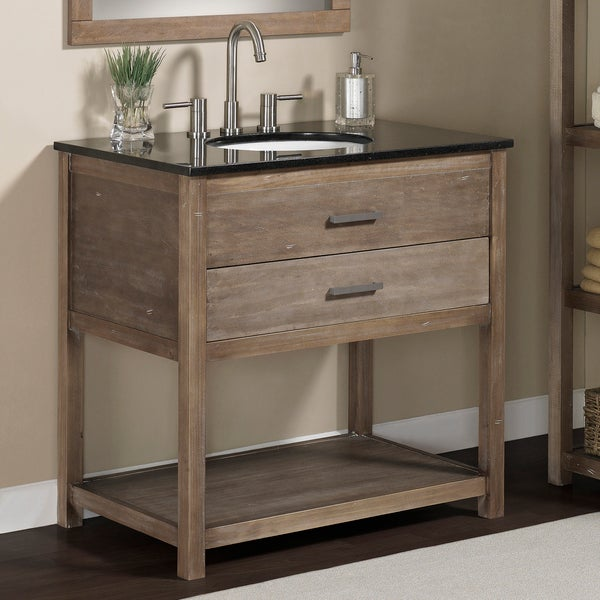 LimestoneTop 37 Inch Single Sink Rustic Bathroom Vanity With Matching