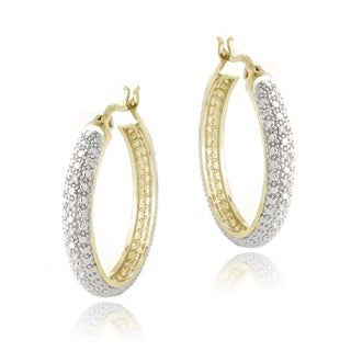 DB Designs Goldtone 1/10ct TDW Diamond Hoop Earrings (I-J, I2-I3)