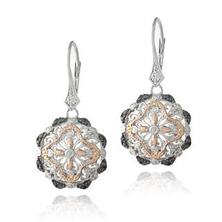 DB Designs Tri-Color 1/10ct TDW Black Diamond Filigree Flower Dangle Earrings