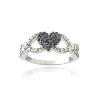DB Designs Rhodium Plated 3/8ct TDW Black and White Diamond Infinity Heart Ring (I-J, I2-I3)