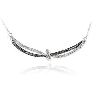 DB Designs Rhodium Plated 5/8ct TDW Black and White Diamond Twist Loop Necklace