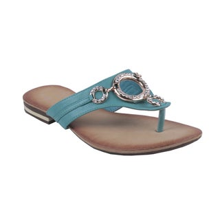 Bonnibel by Beston Women's 'BONZO-1' Turquoise Slip-On Flip-Flops