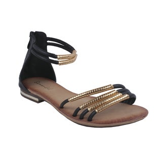 Bonnibel by Beston Women's Black 'BONZO-3' Ankle-Strap Flat Sandals