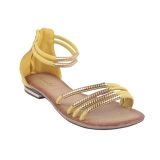 Bonnibel by Beston Women's Yellow 'BONZO-3' Ankle-Strap Flat Sandals